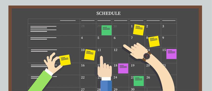 calendar schedule board with hand plan