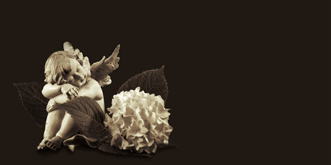 Angel and hydrangea flower on dark background with copy space