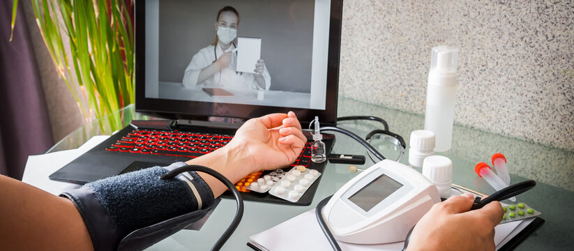 Medicine, telehealth. The doctor conducts a remote consultation, provides online medical assistance. Virtual visit. healthcare providers, digital or virtual engagement, new normal,covid 19