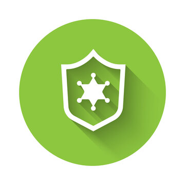 White Police badge icon isolated with long shadow. Sheriff badge sign. Green circle button. Vector.