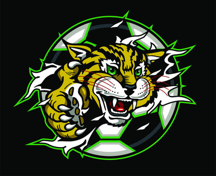 wildcat soccer team mascot ripping out of ball for school, college or league