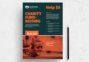 Charity Fundraising Flyer Layout with Orange Accents