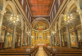 BARCELONA, SPAIN - MARCH 3, 2020: The nave of church Santuario Nuestra Senora del Sagrado Corazon withe the frescoes by Francisco Labarta (20. cent.).