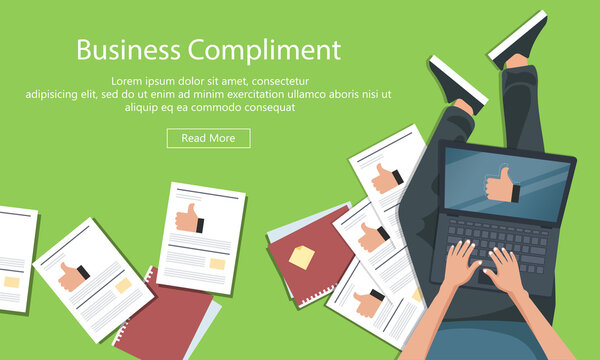 Business compliment concept. Man sitting on the floor and holding lap top with thumb up hand. Flat vector illustration