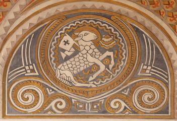 BARCELONA, SPAIN - MARCH 2, 2020: The detail of stucco ol Lamb of God in the church Parroquia Santa Teresa de l'Infant Jesus.