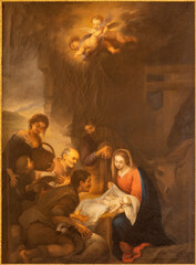 BARCELONA, SPAIN - MARCH 2, 2020: The painting of Nativity in the church Santuario Nuestra Senora del Sagrado Corazon by unknown artist.