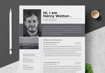 Creative Resume Layout with Photo Placeholder