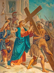 RAVENNA, ITALY - JANUARY 28, 2020: The Jesus accepts his cross in church Basilica di Santa Maria del Porto.