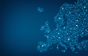 Fototapeta Connected map of Europe vector illustration background  – European Union concept: cooperation, technology, digitalization, future obraz
