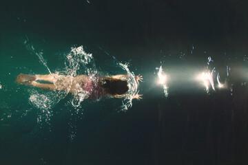 Girl swimming in a lake