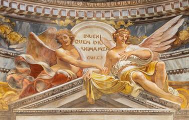 RAVENNA, ITALY - JANUARY 28, 2020: The fresco of angels the chruch Chiesa di Santa Maria Maddalena.