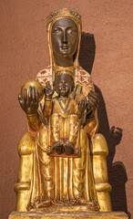 BARCELONA, SPAIN - MARCH 3, 2020: The carved sculpture of Madonna - Nuestra Senora de Montserrat in the chruch Iglesia de Belen.