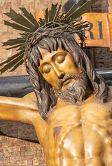 BARCELONA, SPAIN - MARCH 3, 2020: The detail of carved crucifixion in the chruch Iglesia de Belen.