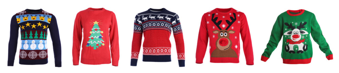 Set of warm Christmas sweaters on white background. Banner design