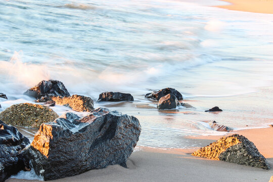 Long Exposure Jetty Rocks, Calming Ocean Waters at the Jersey Shore, Belmar New Jersey