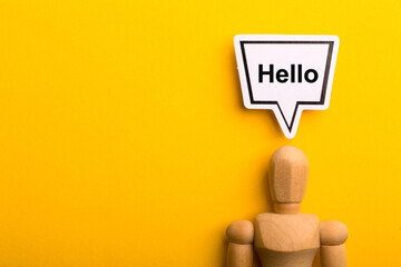 Hello Concept Isolated On Yellow Background