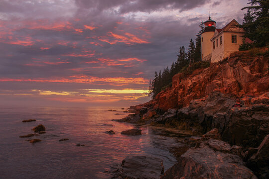 Gorgeous Tranquil Summer Sunset After the Storm at Bass Harbor Head Lighthouse, Acadia National Park Maine