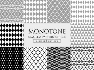 モノトーンのダイヤ柄 シームレスパターンセット