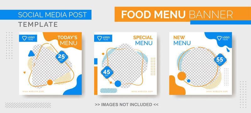 Food Menu Banner Template, Social Media  Food Tamplate, Instagram Post Food Template with blue and orange color