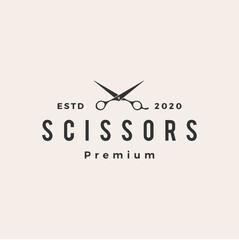 hair scissor hipster vintage logo vector icon illustration