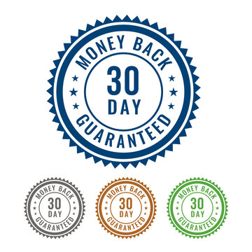 Simple 30 Day Money Back guaranteed 4 Colored Seal, Badge, Stamp, Sign isolated on white background.