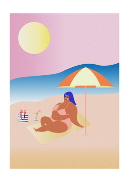 Illustration of young woman relaxing on beach