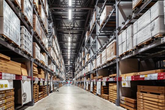 Goods on shelves of distribution center warehouse