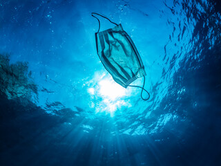 Concept of ocean pollution with a used one way facemask floating under water