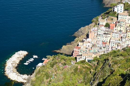 Aerial view of Riomaggiore. Cinque Terre. Liguria. Italy