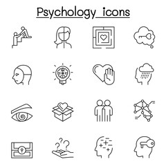 Psychology icons set in thin line style