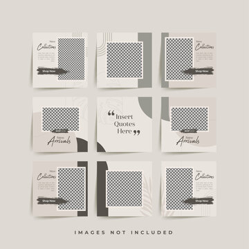 social media puzzle frame grid post template for fashion sale promotion Premium Vector