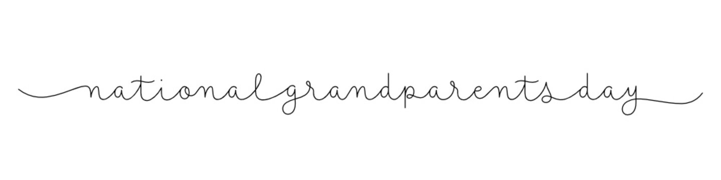 NATIONAL GRANDPARENTS DAY black vector monoline calligraphy banner with swashes