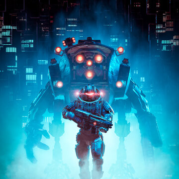 Cyberpunk soldier mech patrol / 3D illustration of science fiction military cyborg warrior patrolling futuristic dystopian city with giant robot
