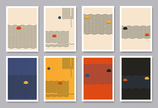 Modern minimalistic geometric patterns with dynamic wavy lines and circles