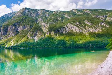 Poster de jardin Olive Lake Bohinj in Slovenia, part of Triglav National Park.