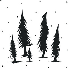 Vector halloween clipart spooky forest. Illustration for seasonal design, textile, decoration kids playroom or greeting card. Isolated sketch object. Flat vector illustration
