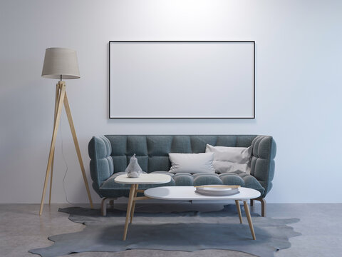 3d rendering of new mock up pattern in contemporary interior with sofa and lamp