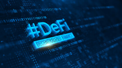 DeFi -Decentralized Finance on dark blue abstract polygonal background. Concept of blockchain, decentralized financial system. 3d rendering