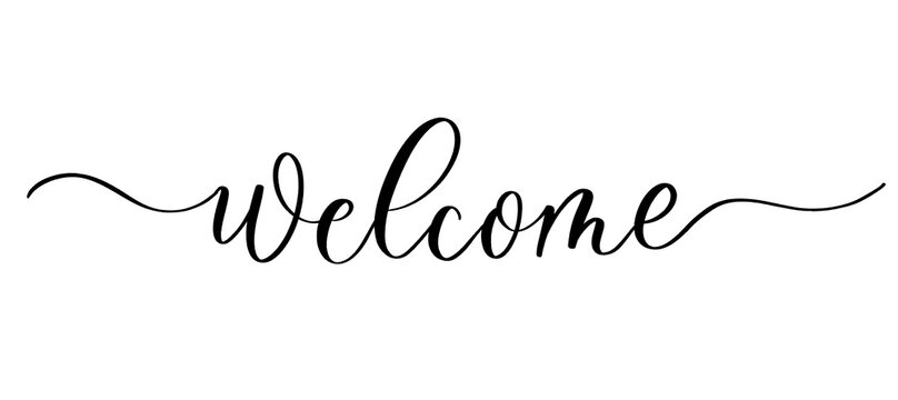 Welcome - vector calligraphic inscription with smooth lines.