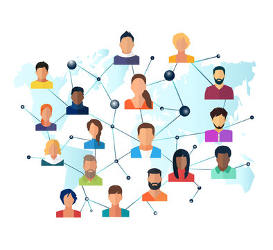 Vector of a global network of interconnected people