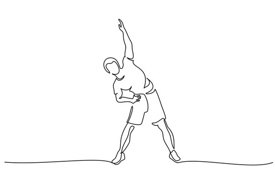 Man make stretching exercise one line draw
