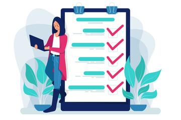 Survey report, checklist, questionnaire, business illustration.
