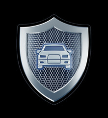 An Emblem of a Car Security. Metallic shield with a car pictogram in center of it which are represents abstract symbol of an automotive security. 3D-rendering graphics isolated on black background.