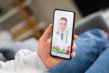 Foto auf Leinwand Vogel auf Asten Telemedicine Video Call To Doctor