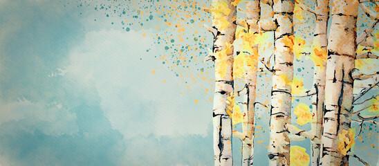 Fototapeta Autumn, birch trees. Watercolor background obraz