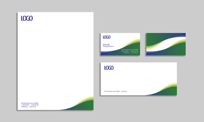 set of corporate stationery design, template, business stationery