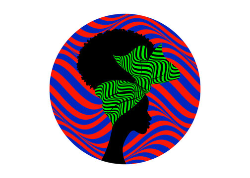 African Logo round design, Portrait African woman wears bandana for curly hairstyle. Shenbolen Ankara Headwrap Women. Afro Traditional Headtie Scarf Turban tribal zebra fabric design texture. Isolated