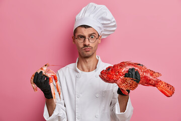 Horizontal shot of serious male chef looks angrily at camera, poses with crayfish and sea bass, cooks seafood dish, works in restaurant, going to satisfy customers, isolated on pink background