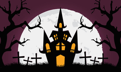 happy halloween card with castle in cemetery