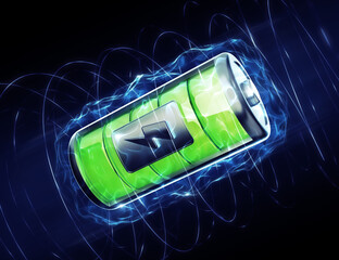 Fully Charged Battery. Graphic representation of an abstract battery in surrounding of electric plasma. 3D-rendering graphics on the theme of Modern Sources of Electricity.
